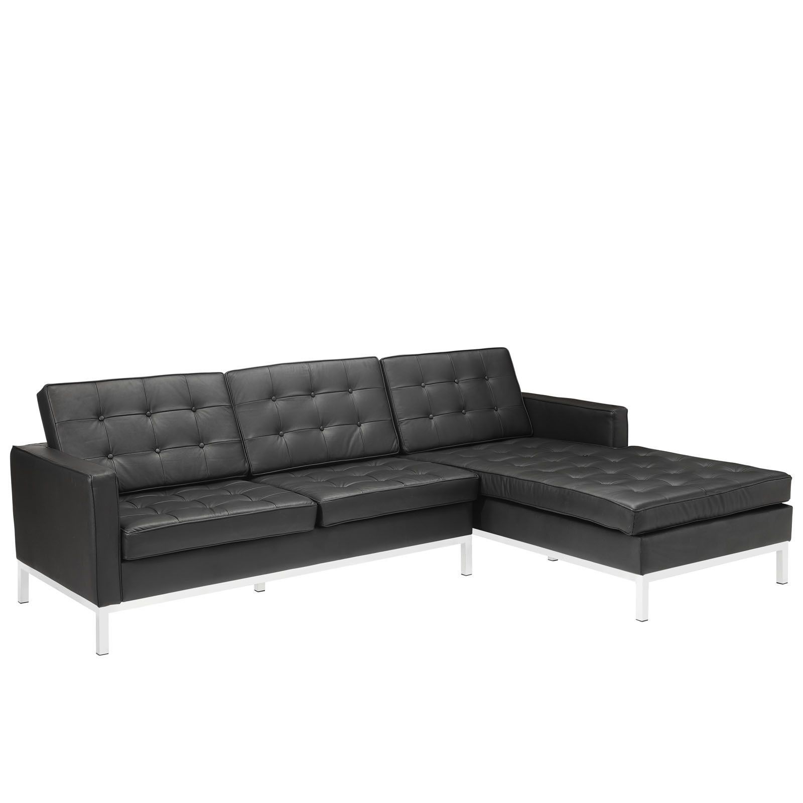 Florence Knoll Style Sectional Sofa In Black Leather Left Within Popular Florence Mid Century Modern Velvet Left Sectional Sofas (View 2 of 25)