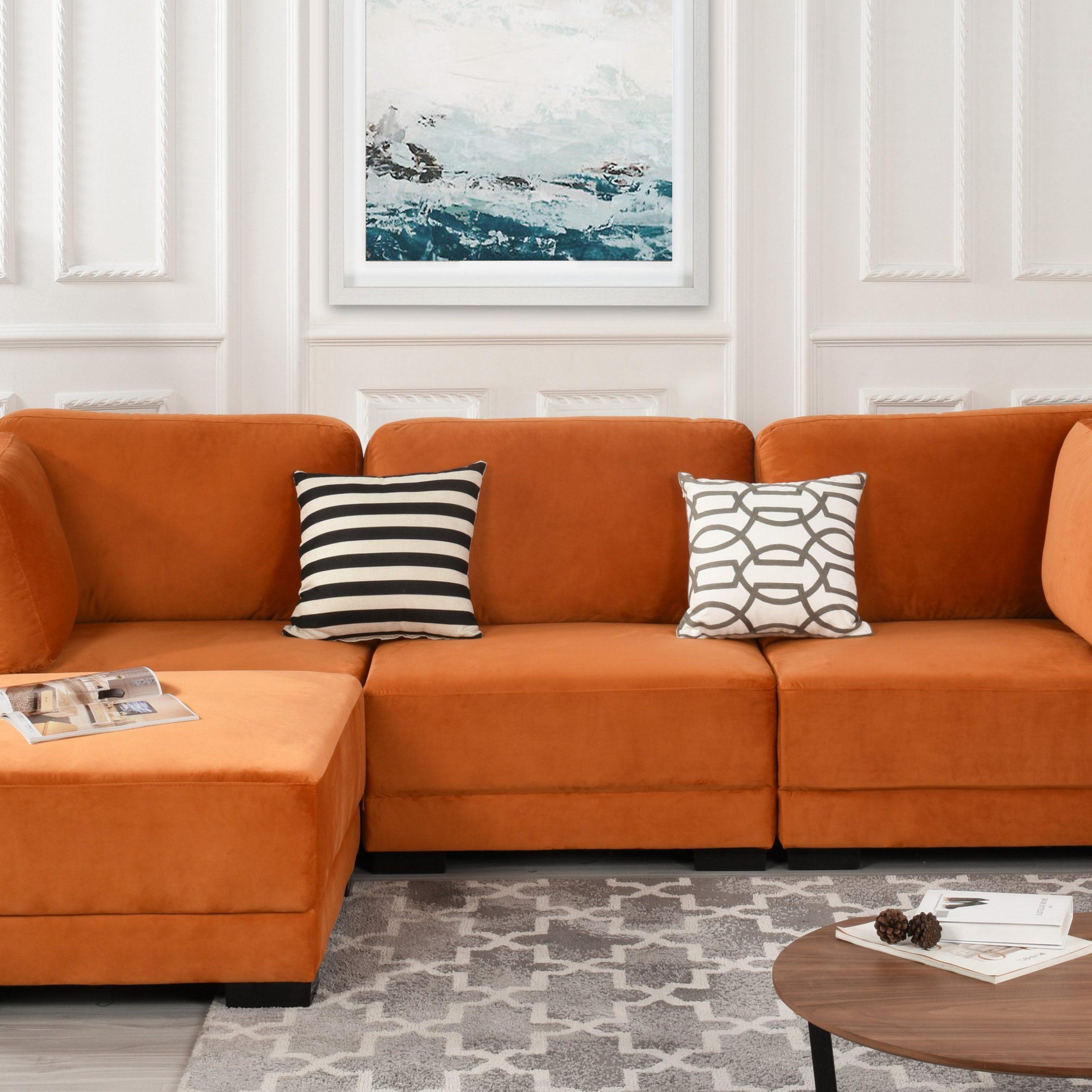 Florence Mid Century Modern Velvet Left Sectional Sofas In Trendy Orange Upholstered Velvet Sectional Sofa, L Shape Modern (View 8 of 25)