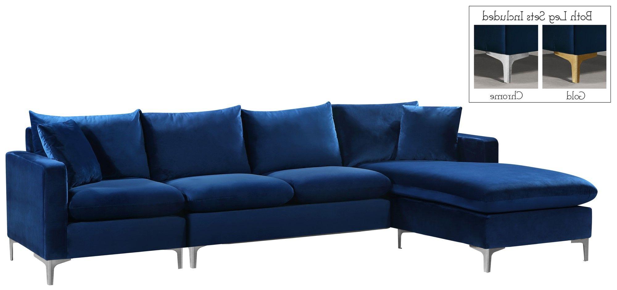 French Seamed Sectional Sofas In Velvet For Fashionable Selene Contemporary Plush Navy Blue Velvet Sectional Sofa (View 11 of 25)