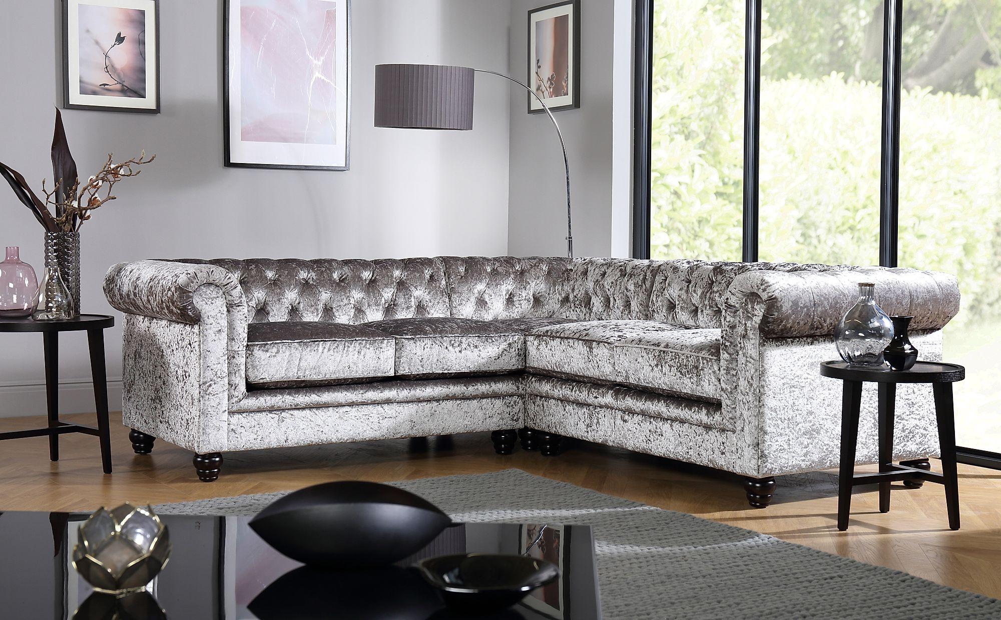 French Seamed Sectional Sofas In Velvet For Newest Hampton Silver Crushed Velvet Chesterfield Corner Sofa (View 3 of 25)