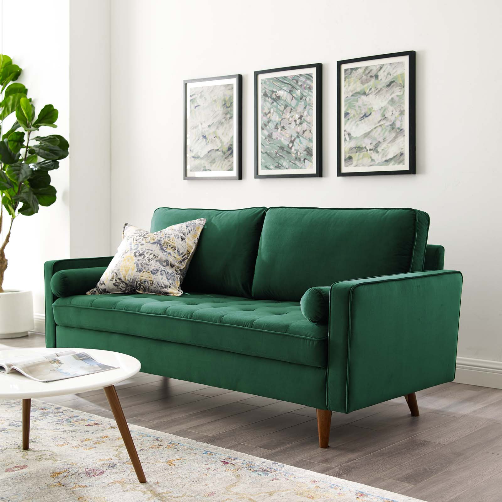French Seamed Sectional Sofas In Velvet With Regard To Most Recently Released Valour Performance Velvet Sofa Green (View 4 of 25)