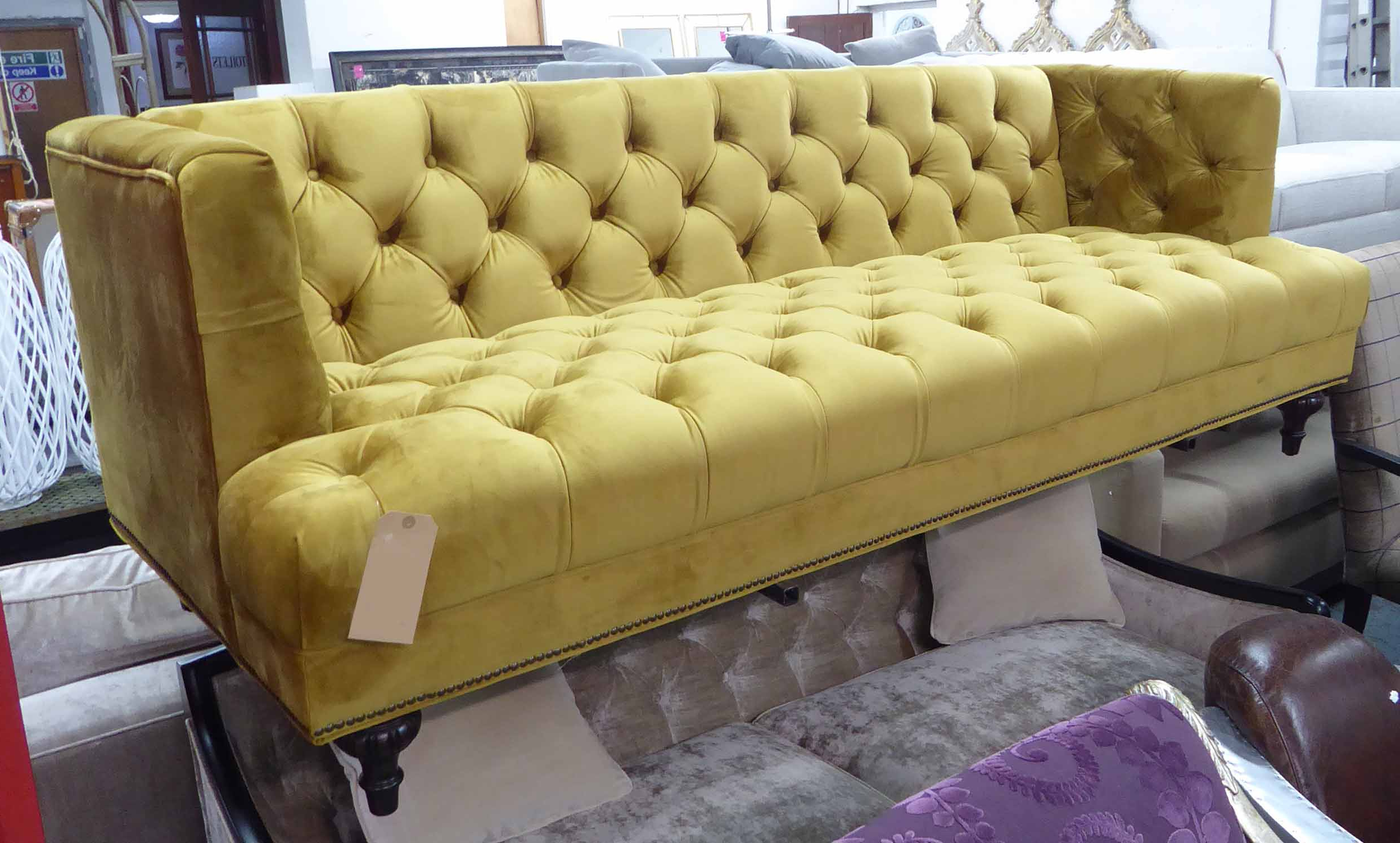 French Seamed Sectional Sofas Oblong Mustard Intended For Preferred Artsome For Coach House Sofa, Mustard Buttoned Finish (View 4 of 25)