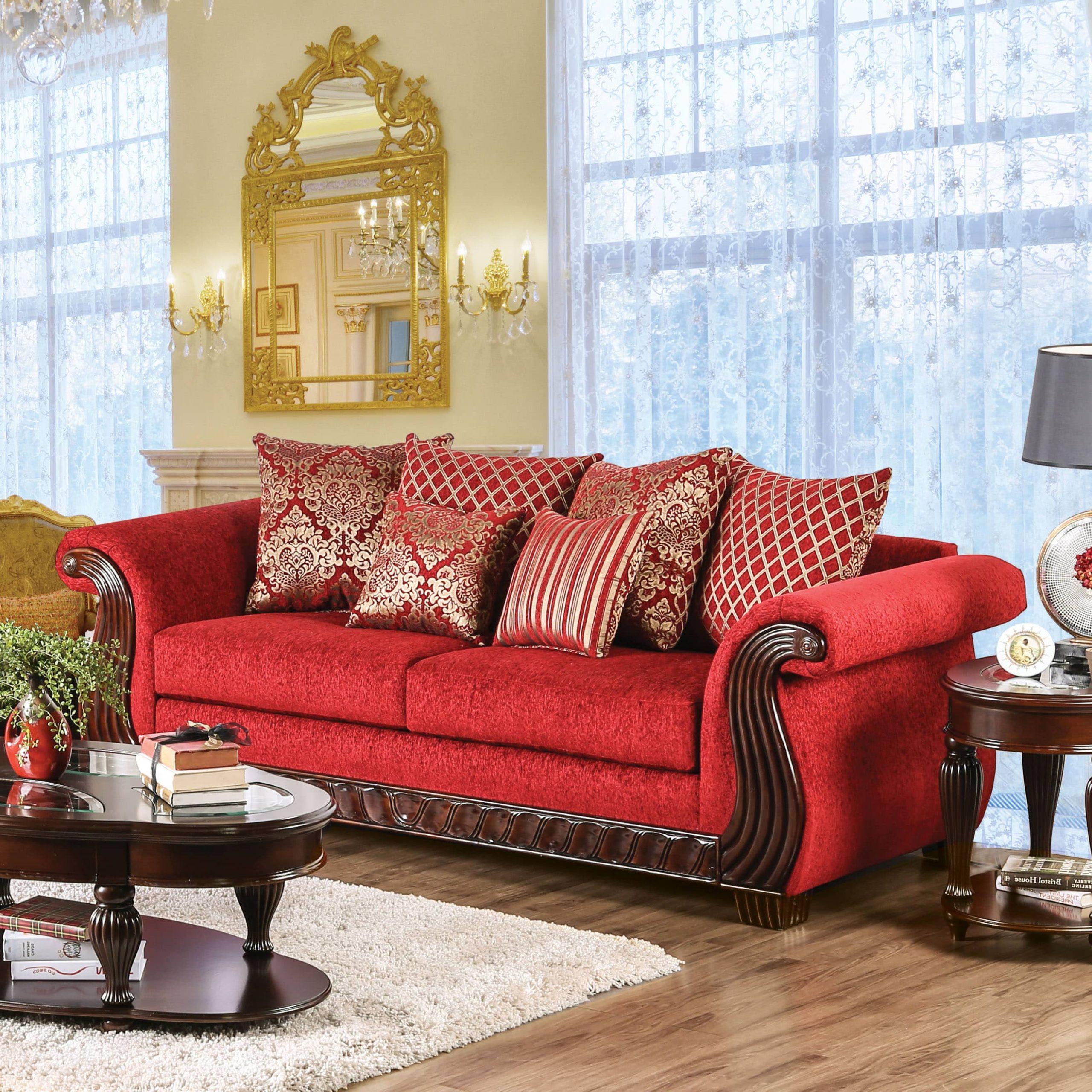 Furniture Of America Ferga Traditional Wood Trim Ruby Red Regarding Most Up To Date Red Sofas (View 2 of 15)