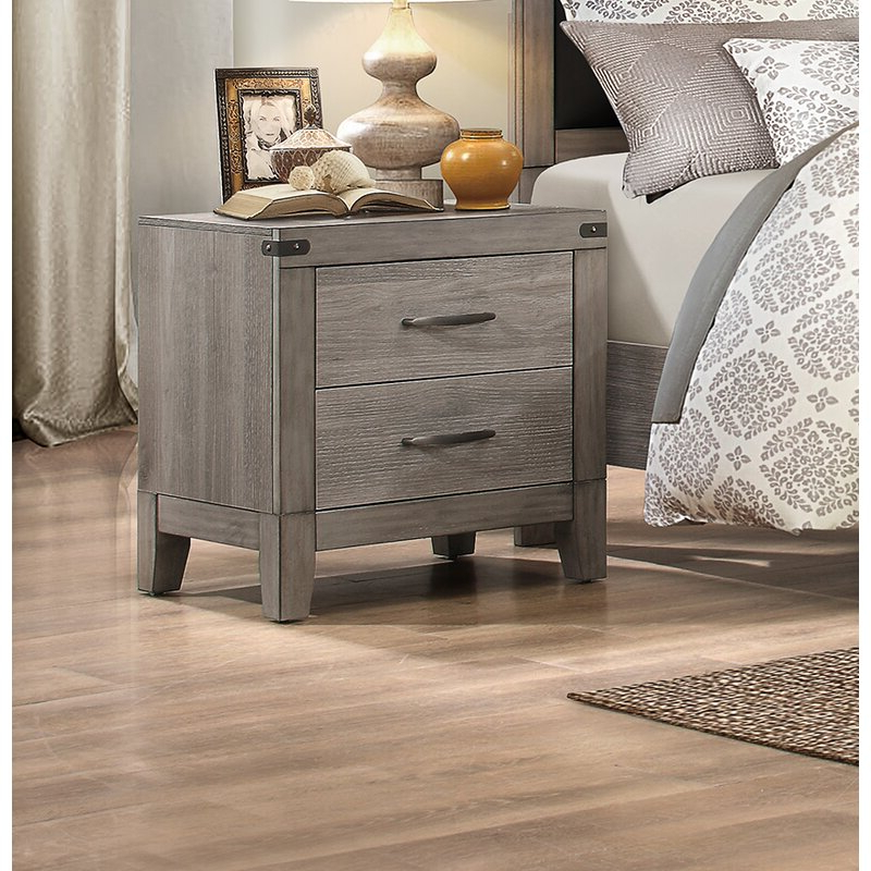 Gracie Chocolate Sofas Within 2018 Gracie Oaks Hooksett 2 – Drawer Nightstand In Grey Brown (View 13 of 15)