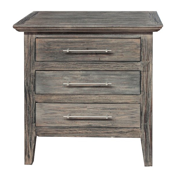 Gracie Oaks Aneres 3 – Drawer Solid Wood Nightstand In Pertaining To Best And Newest Gracie Chocolate Sofas (View 8 of 15)