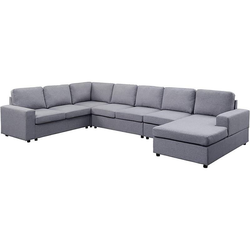 Gray Linen 7 Seat Reversible Modular Sectional Sofa Chaise With Regard To Widely Used Paul Modular Sectional Sofas Blue (View 12 of 25)