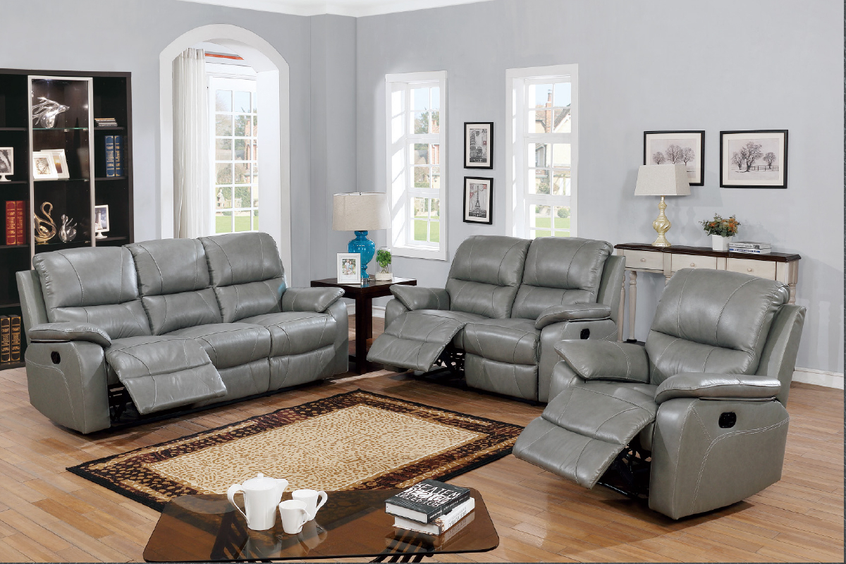 Gray Reclining Sofas In Most Up To Date Grey Genuine Leather Motion Sofa And Loveseat Set With (View 6 of 17)