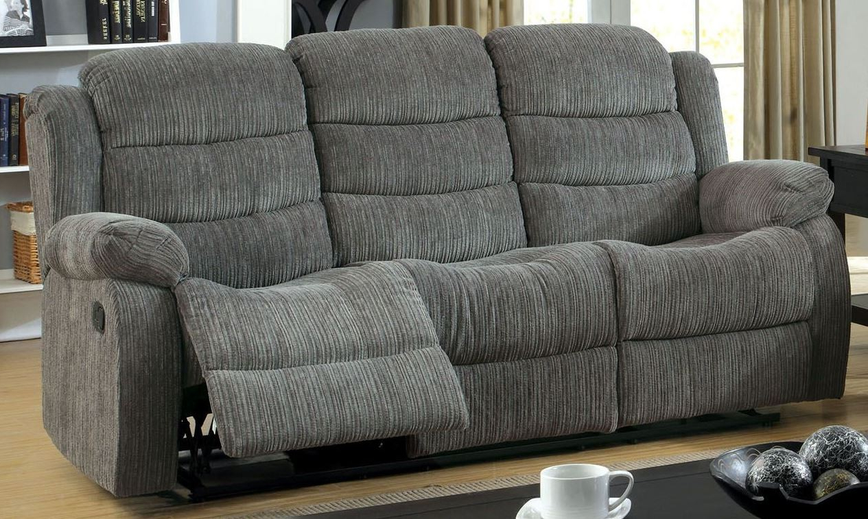 Gray Reclining Sofas Inside Best And Newest Millville Gray Chenille Reclining Sofa From Furniture Of (View 17 of 17)