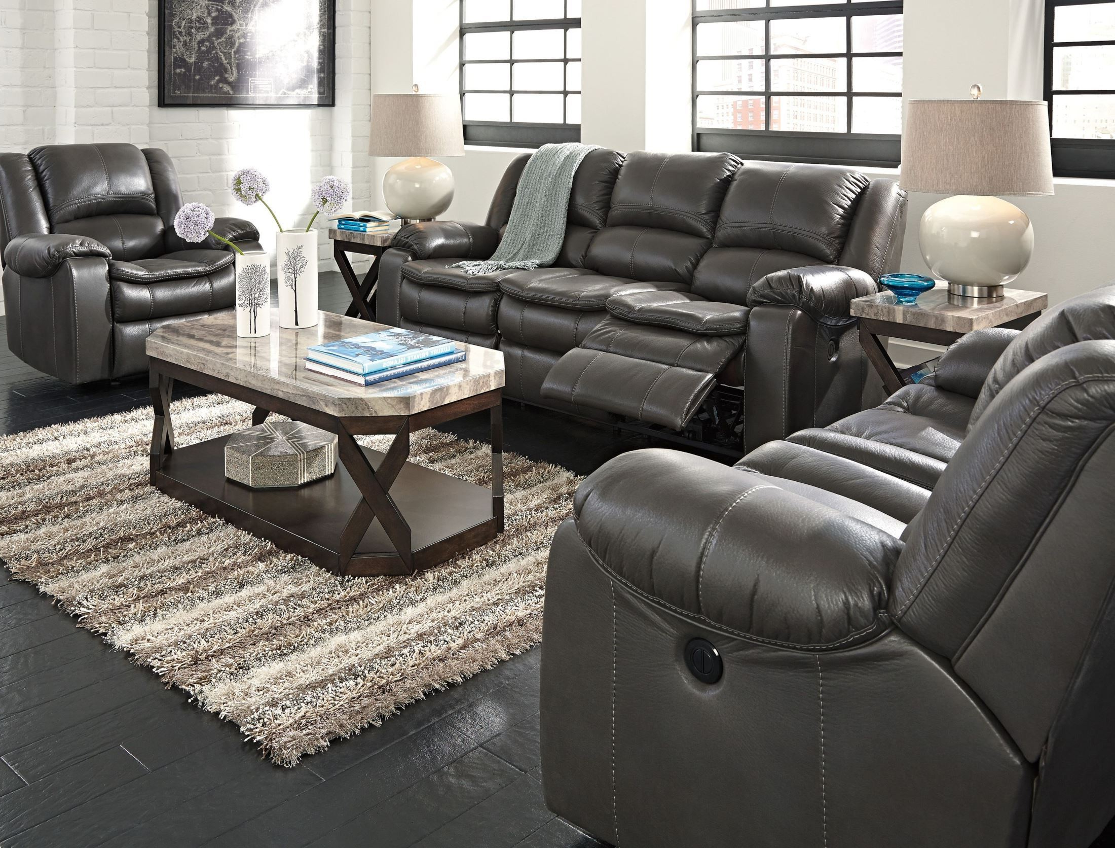 Gray Reclining Sofas Intended For Famous Long Knight Gray Reclining Loveseat From Ashley ( (View 7 of 17)