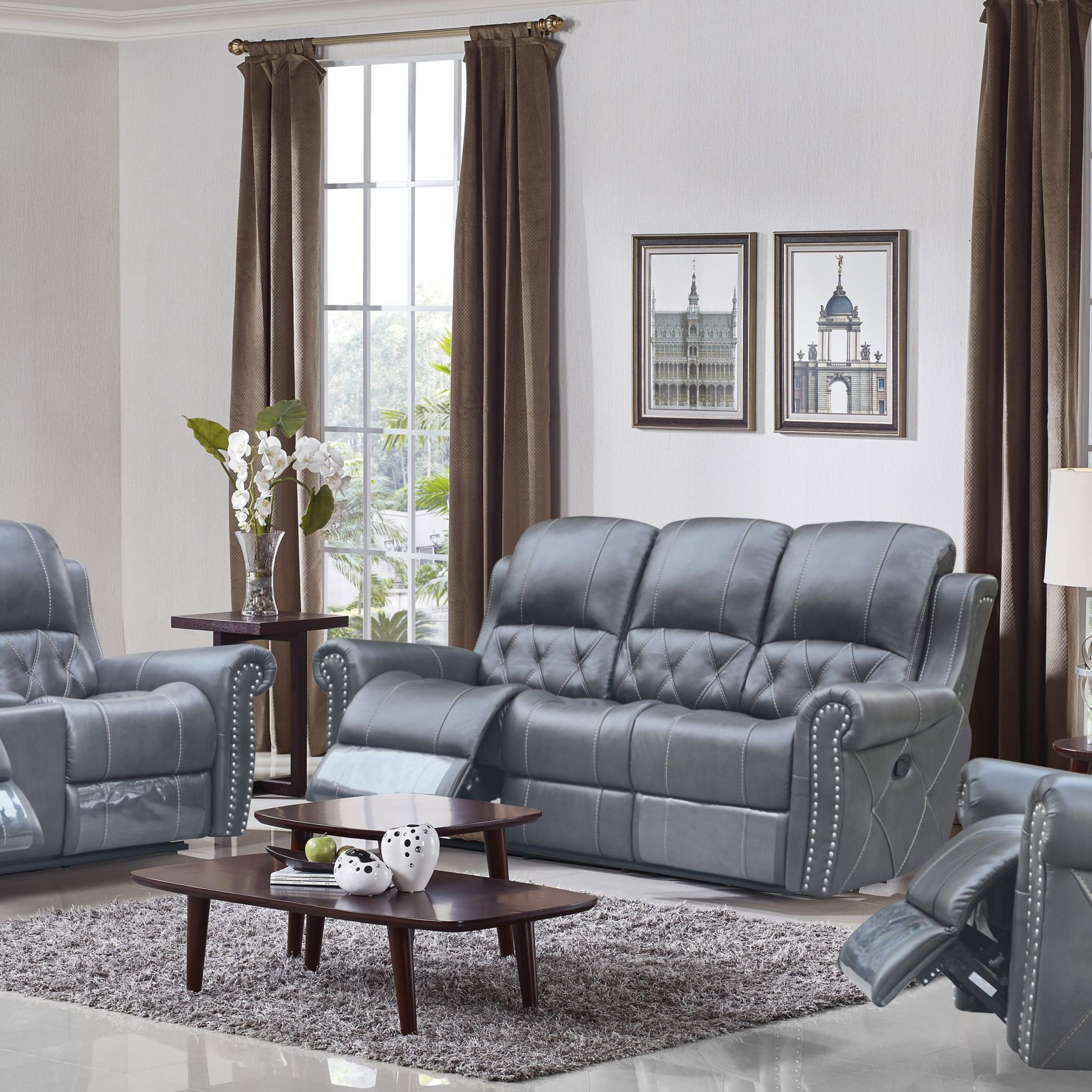 Gray Reclining Sofas Pertaining To Well Liked Hunter Reclining Loveseat – Leather Air Code # G12 Gray (View 16 of 17)