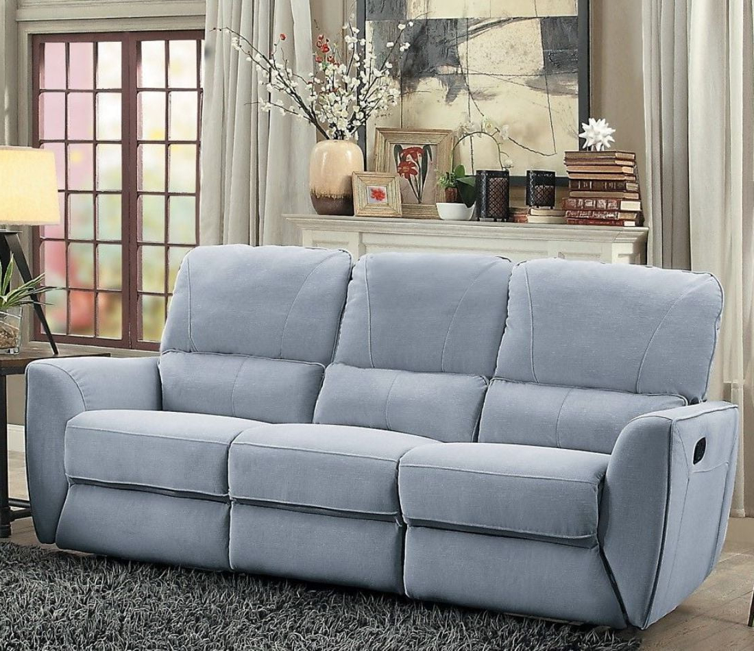 Gray Reclining Sofas Throughout Most Recent Homelegance Dowling Light Gray Double Reclining Sofa (View 5 of 17)