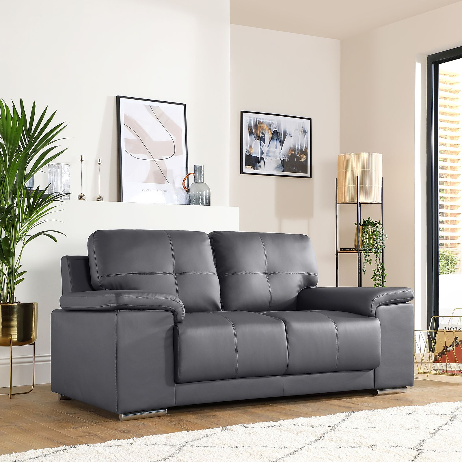 Gray Sofas For Famous Kansas Grey Leather 2 Seater Sofa (View 9 of 15)