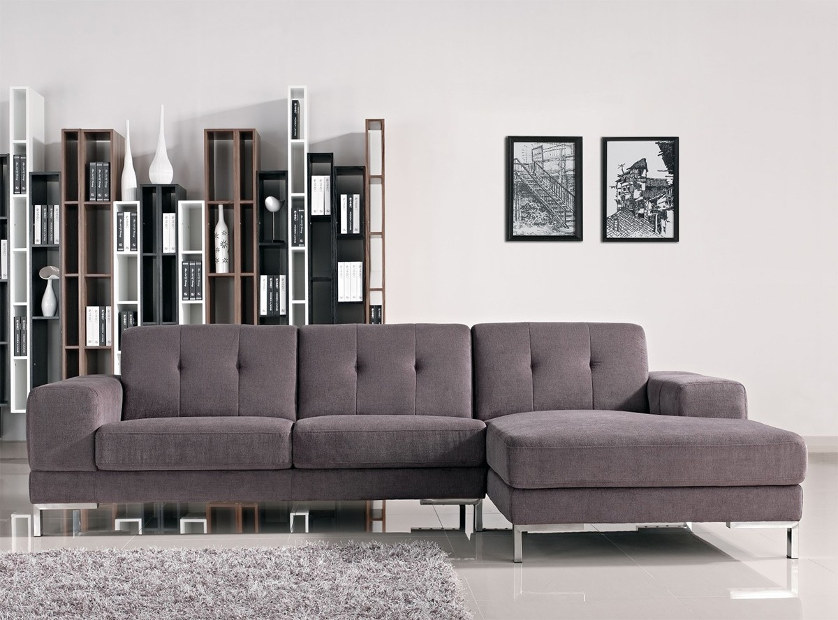 Gray Sofas Inside Most Up To Date Forli L Shape Gray Fabric Sectional Sofa (View 10 of 15)