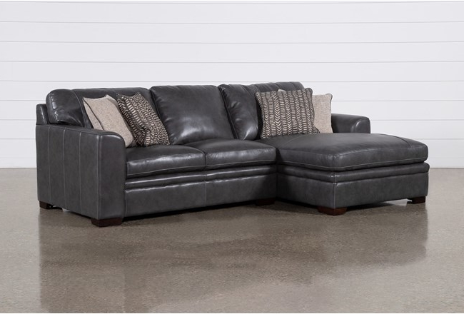 """Greer Dark Grey Leather 2 Piece 108"""" Sectional With Left Regarding Current Kiefer Right Facing Sectional Sofas (View 14 of 25)"""