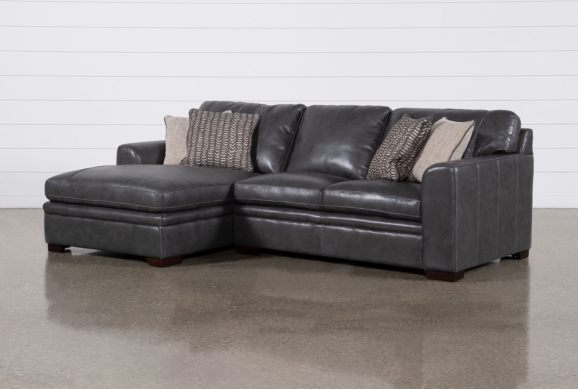 Greer Dark Grey Leather 2 Piece Sectional With Left Arm With Regard To Well Liked Dulce Right Sectional Sofas Twill Stone (View 25 of 25)