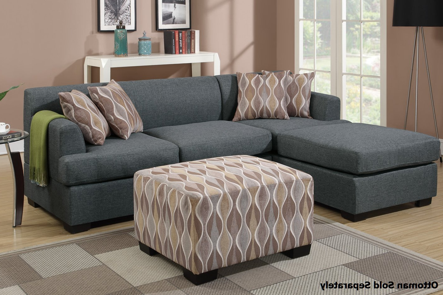 Grey Fabric Sectional Sofa – Steal A Sofa Furniture Outlet In Best And Newest Noa Sectional Sofas With Ottoman Gray (View 6 of 25)