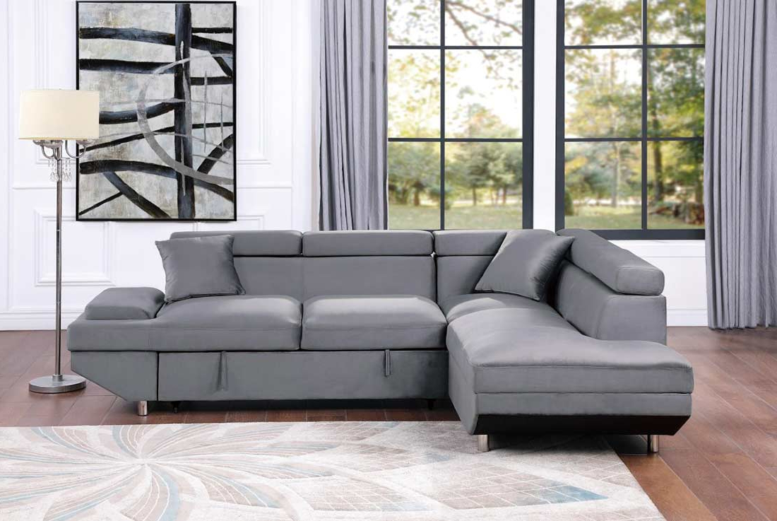 Grey Velvet Sectional Sofa Bed He Cruise (View 4 of 25)