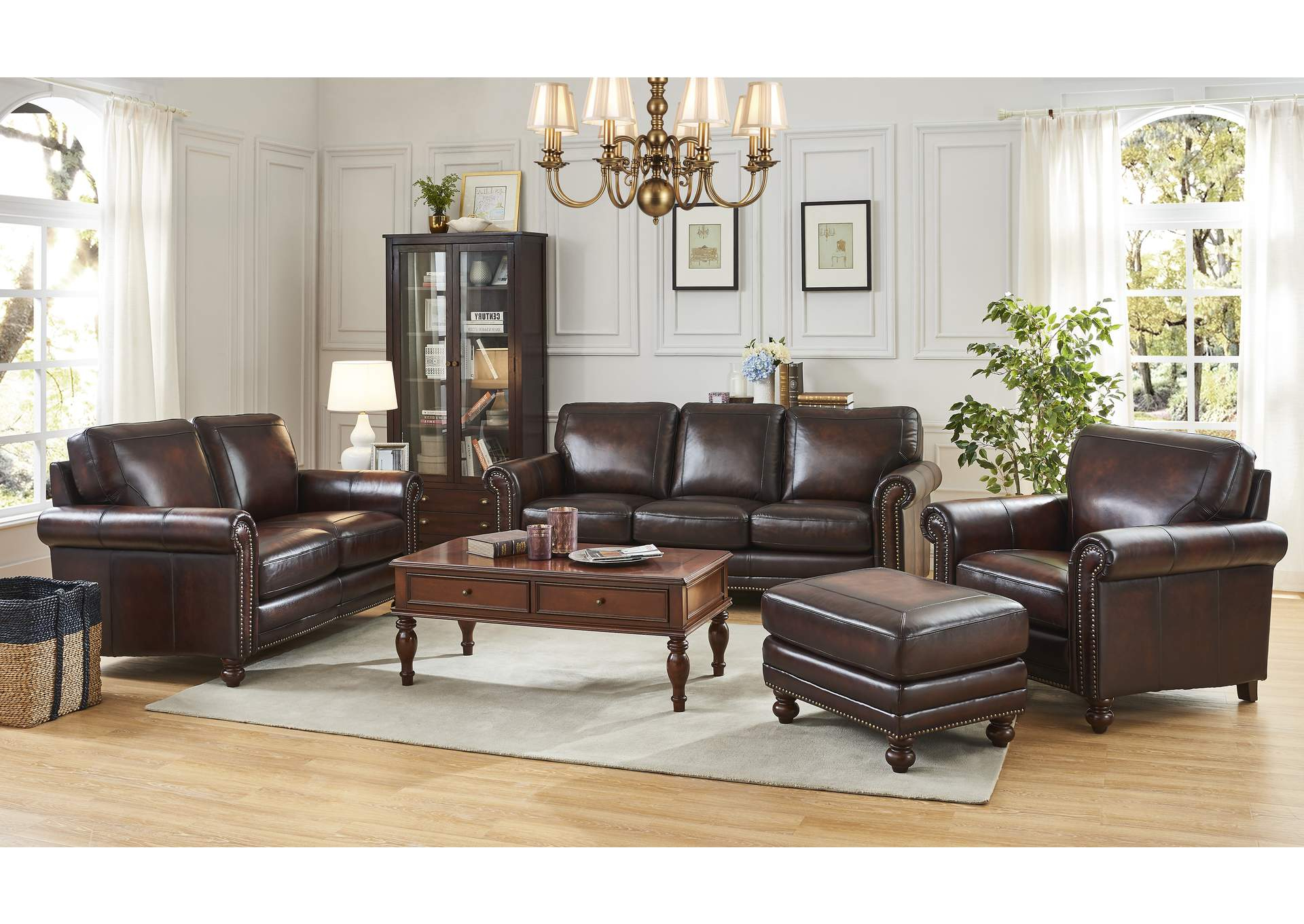 Hampton L501M Brown 3 Piece Sofa Set Furniture Outlet In Most Recently Released 3Pc Polyfiber Sectional Sofas With Nail Head Trim Blue/Gray (View 22 of 25)