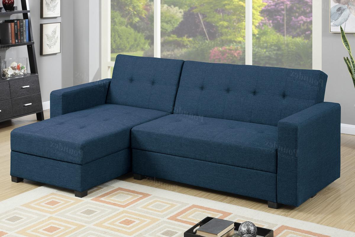 Hartford Storage Sectional Futon Sofas Throughout 2017 Blue Fabric Sectional Sofa Bed – Steal A Sofa Furniture (View 5 of 25)
