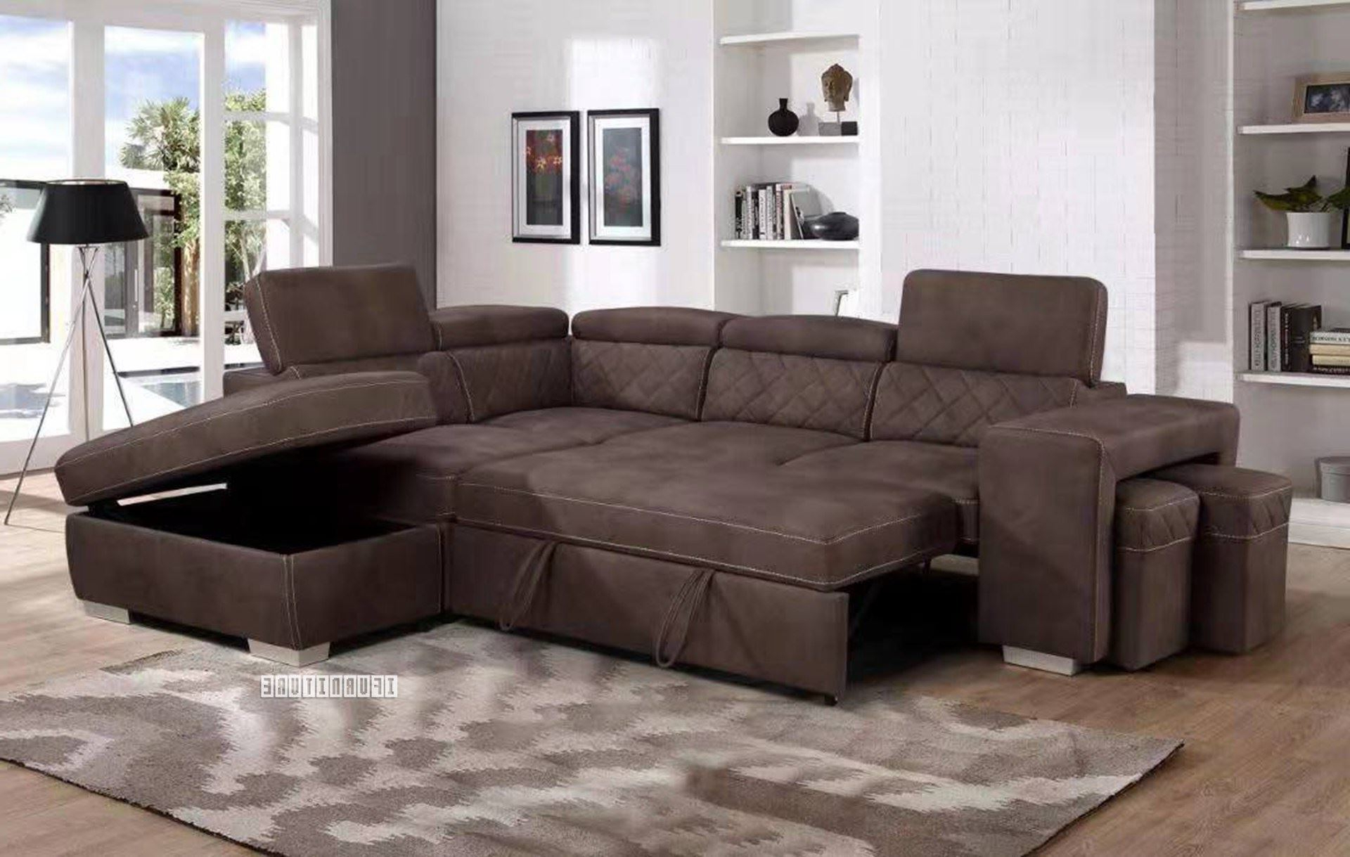 Hartford Storage Sectional Futon Sofas Throughout Most Popular Aria Sectional Sofa/ Sofa Bed With Storage & 2 Ottomans (View 16 of 25)