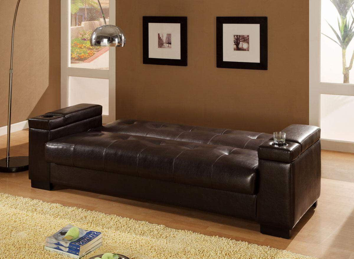 Hartford Storage Sectional Futon Sofas Throughout Well Known Sofa Beds Faux Leather Convertible Sofa Sleeper With (View 21 of 25)