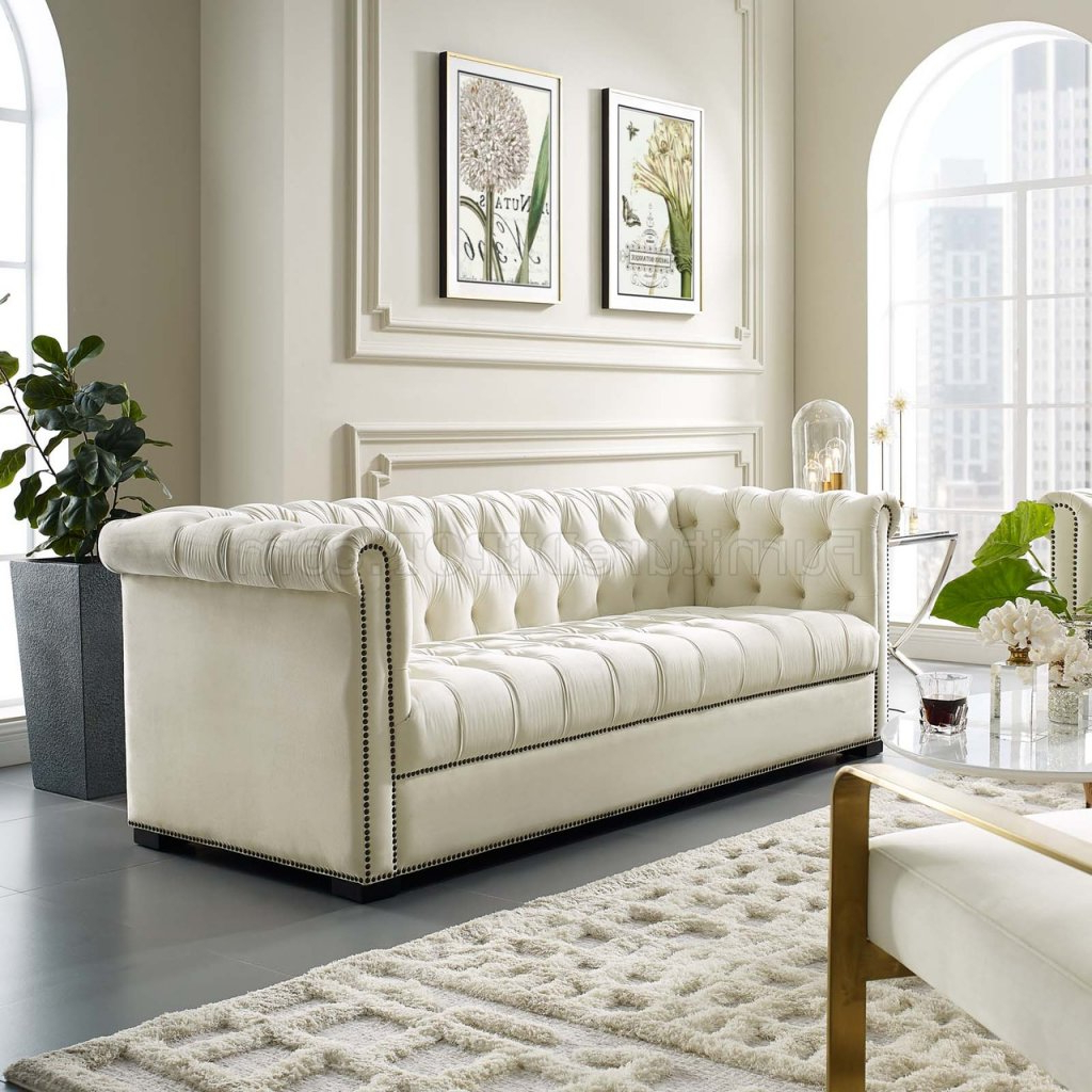 Heritage Sofa In Ivory Velvet Fabricmodway W/Options With Preferred Strummer Velvet Sectional Sofas (View 12 of 25)
