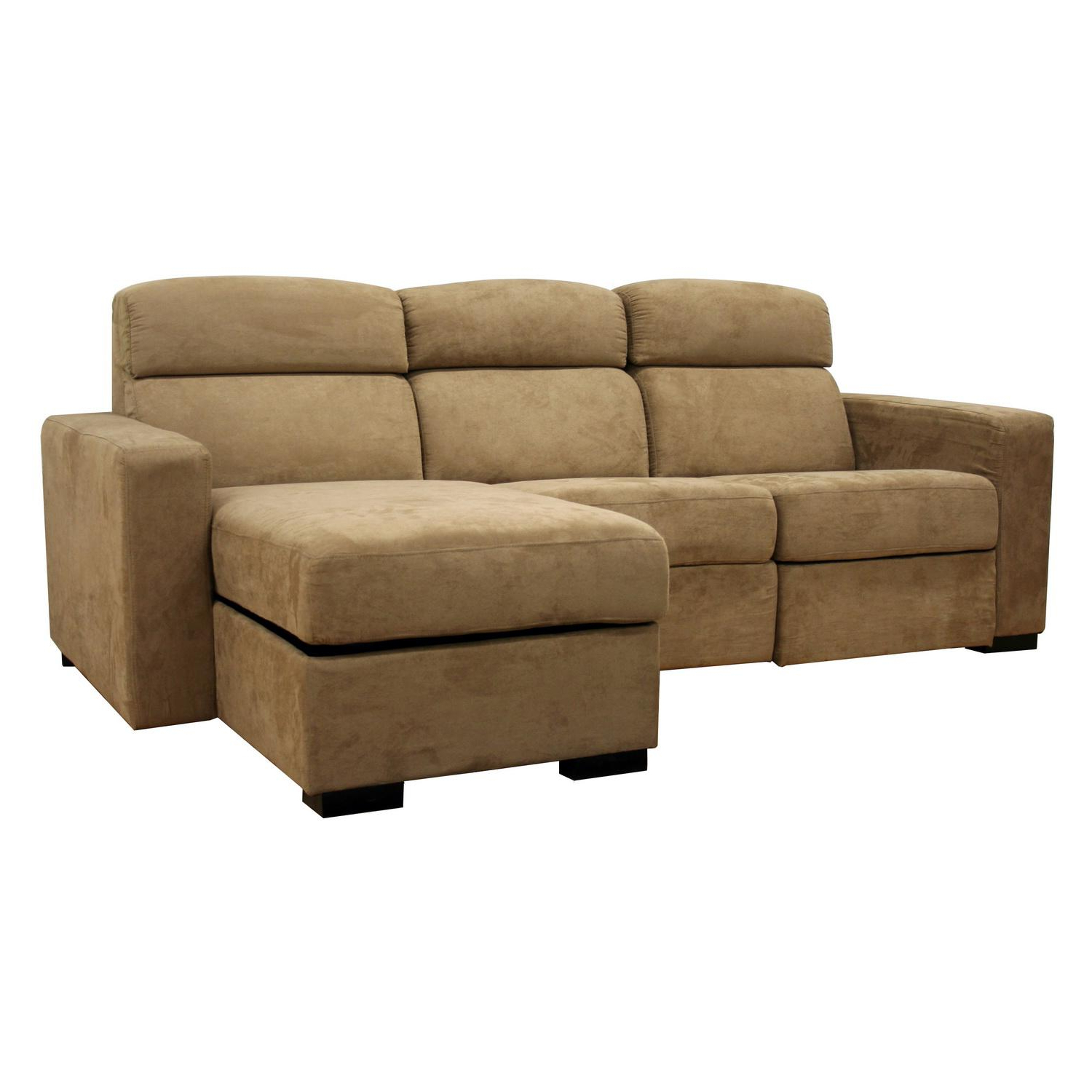 Holcomb Tan Microfiber Storage Chaise And Reclining In Most Popular Copenhagen Reclining Sectional Sofas With Right Storage Chaise (View 9 of 25)