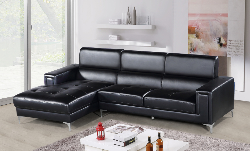 Hot Sectionals With Trendy 2Pc Connel Modern Chaise Sectional Sofas Black (View 3 of 25)