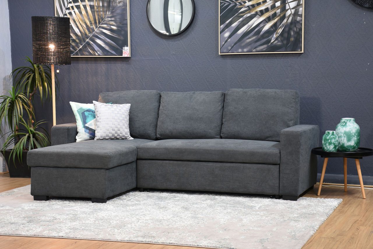 Hugo Chenille Upholstered Storage Sectional Futon Sofas Intended For 2017 Hugo Storage Chaise Lounge With Pull Out Sofa Bed Dark (View 10 of 25)
