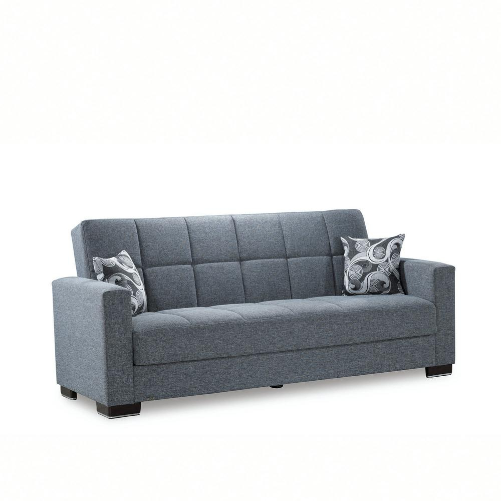 Hugo Chenille Upholstered Storage Sectional Futon Sofas With Recent Ottomanson Armada Gray Fabric Upholstery Sofa Sleeper Bed (View 14 of 25)