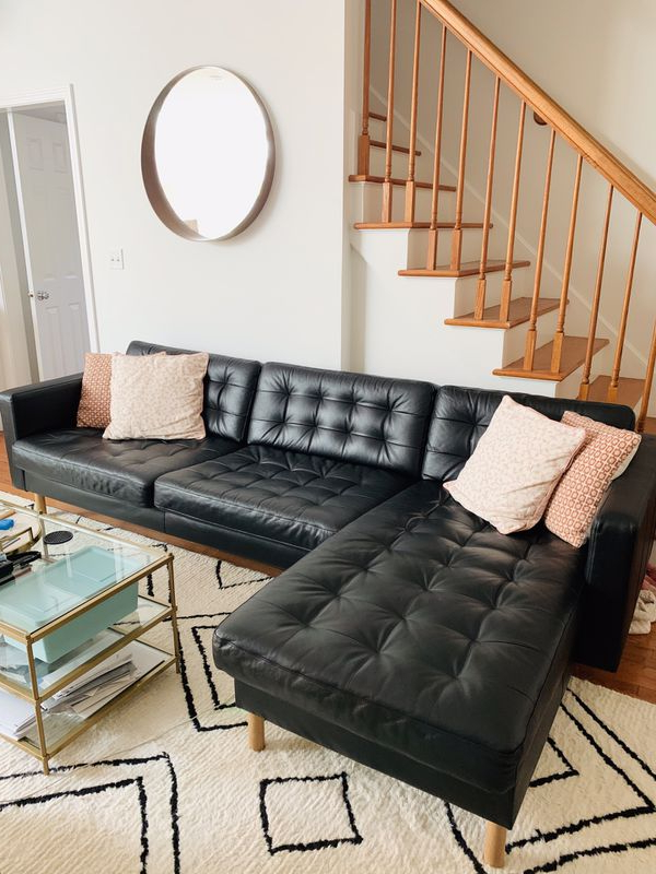 Ikea Landskrona Black Genuine Leather Sectional Sofa With Intended For Popular Alani Mid Century Modern Sectional Sofas With Chaise (View 17 of 25)