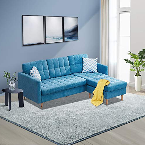 Innootechnology Convertible Sectional Sofa Bed L Shaped Pertaining To Popular Dulce Mid Century Chaise Sofas Dark Blue (View 6 of 25)