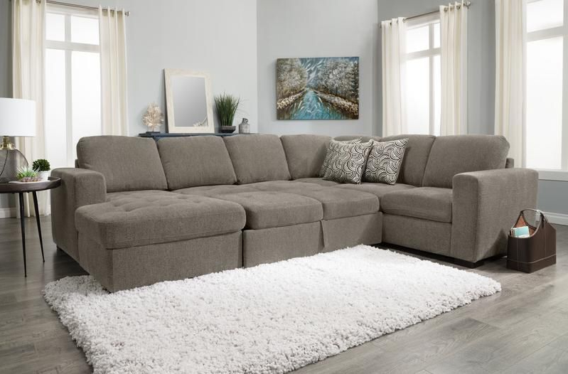 Izzy 3 Piece Chenille Right Facing Sleeper Sectional With In Famous Hugo Chenille Upholstered Storage Sectional Futon Sofas (View 1 of 25)
