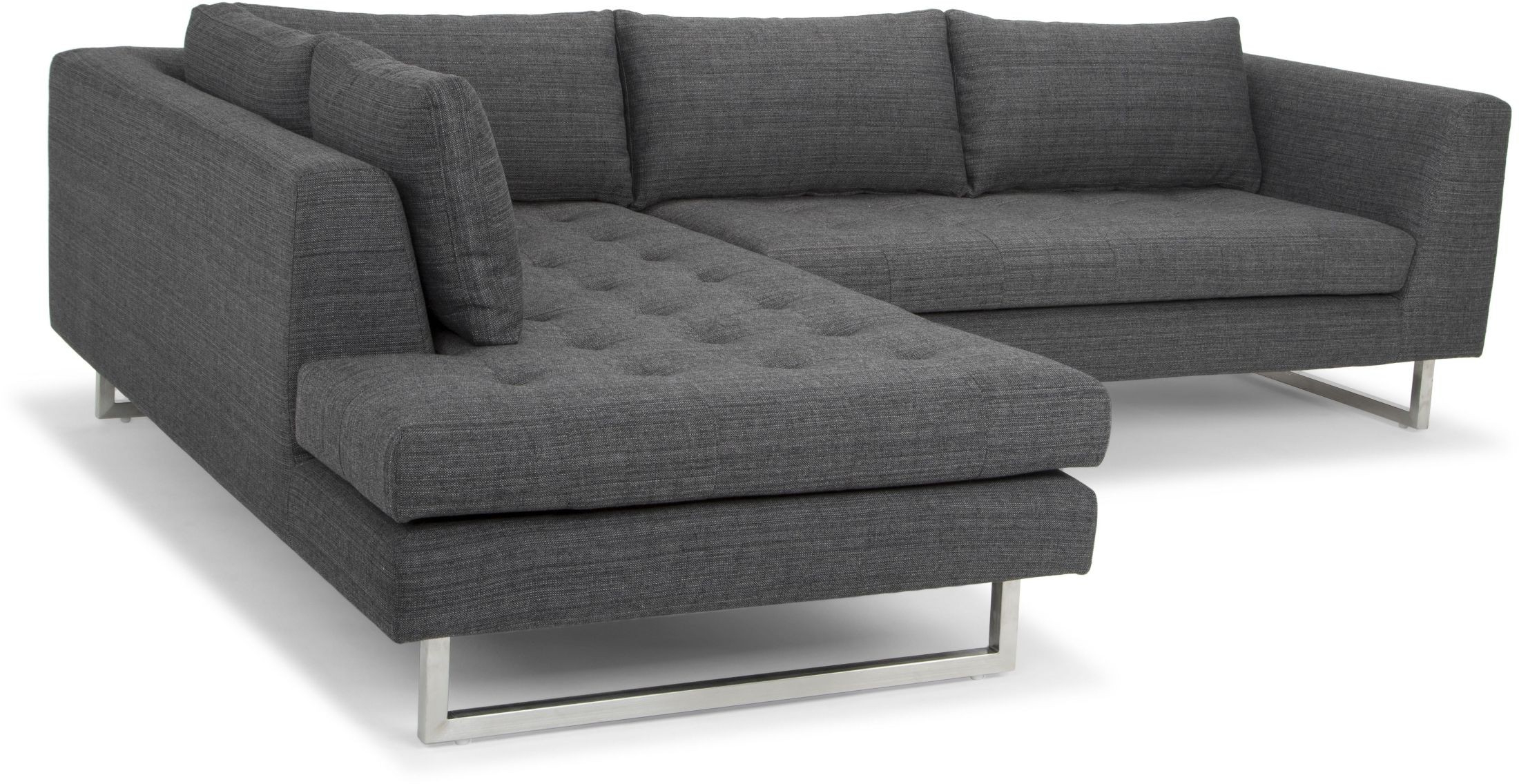 Janis Dark Grey Tweed Raf Sectional Sofa From Nuevo For Well Known Noa Sectional Sofas With Ottoman Gray (View 22 of 25)