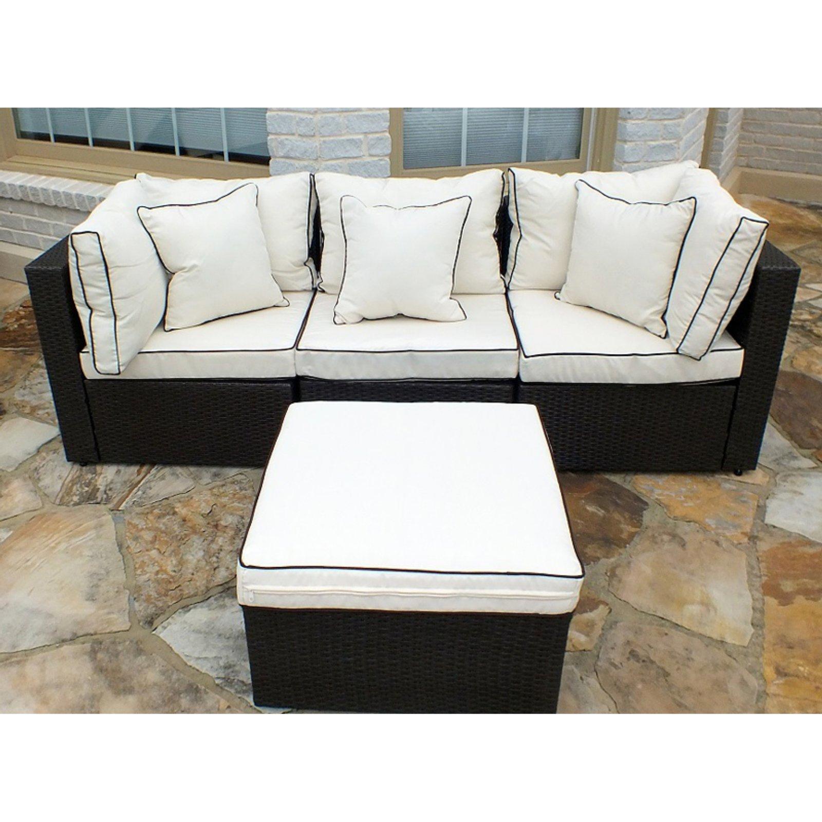 Jj International Hampton Wicker Patio Sofa With Ottoman In Well Liked Hamptons Sofas (View 8 of 15)