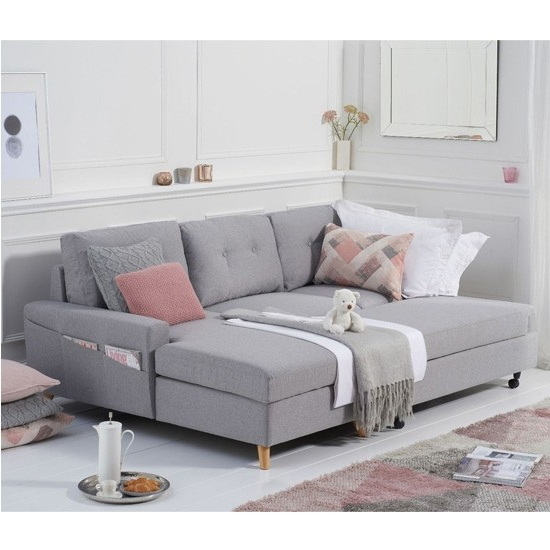 Kiefer Right Facing Sectional Sofas In Widely Used Carlotta Linen Right Hand Facing Chaise Sofa Bed In Grey (View 24 of 25)