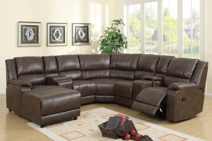 Kiefer Right Facing Sectional Sofas Pertaining To Recent Light Coffee Plush Faux Leather Reclining Sectional Sofa W (View 13 of 25)