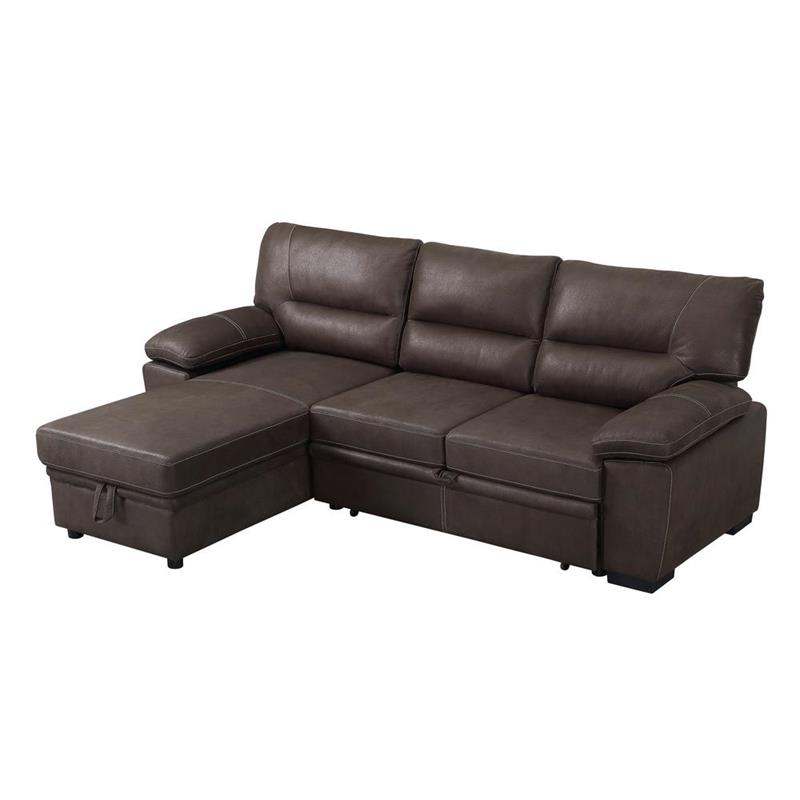 Kipling Brown Microfiber Reversible Sleeper Sectional Sofa With Recent Palisades Reversible Small Space Sectional Sofas With Storage (View 16 of 25)
