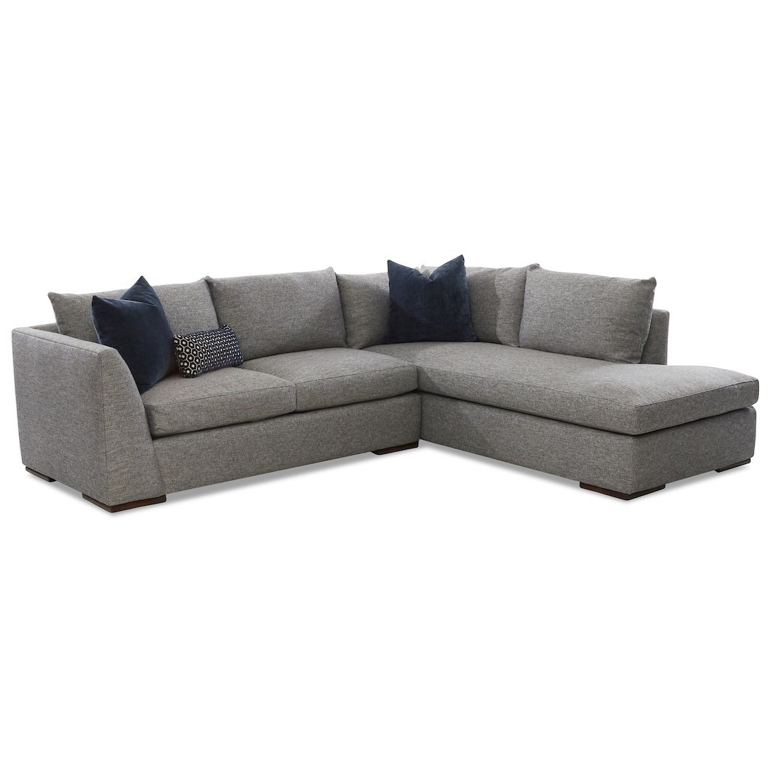 Klaussner Flagler Contemporary 2 Piece Chaise Sofa With Within Well Known 2Pc Burland Contemporary Chaise Sectional Sofas (View 6 of 25)