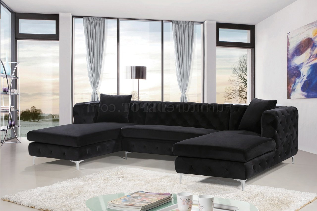 Latest 2Pc Connel Modern Chaise Sectional Sofas Black Pertaining To Gail Sectional Sofa 664 In Black Velvet Fabricmeridian (View 9 of 25)
