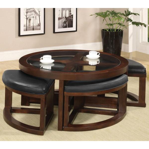 Latest Gracie Chocolate Sofas For Furniture Of America Gracie Dark Walnut 5 Piece Coffee (View 11 of 15)