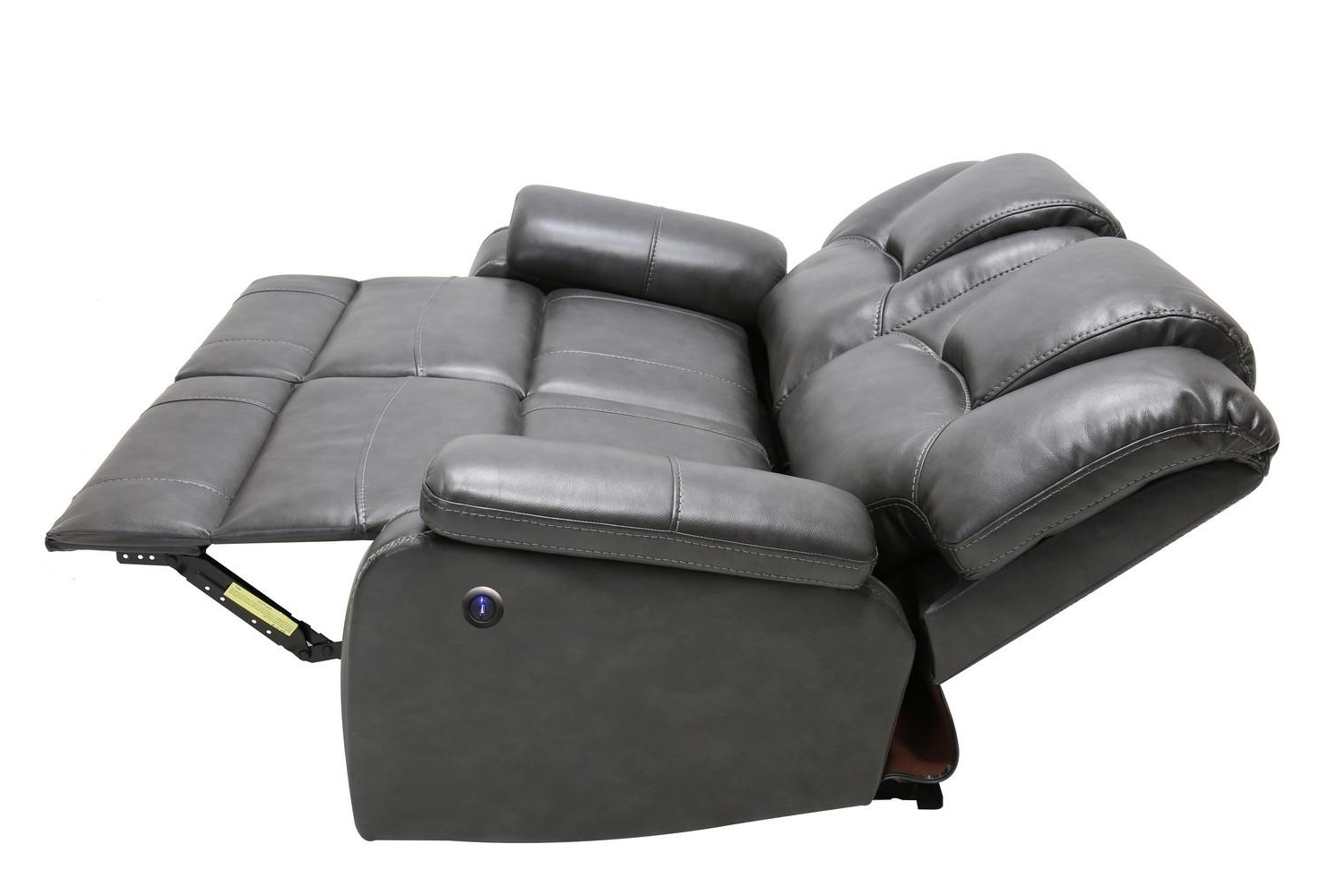 Latest Gray Air Leather Power Reclining Sofa Set 3 Pcs Intended For Pacifica Gray Power Reclining Sofas (View 12 of 15)