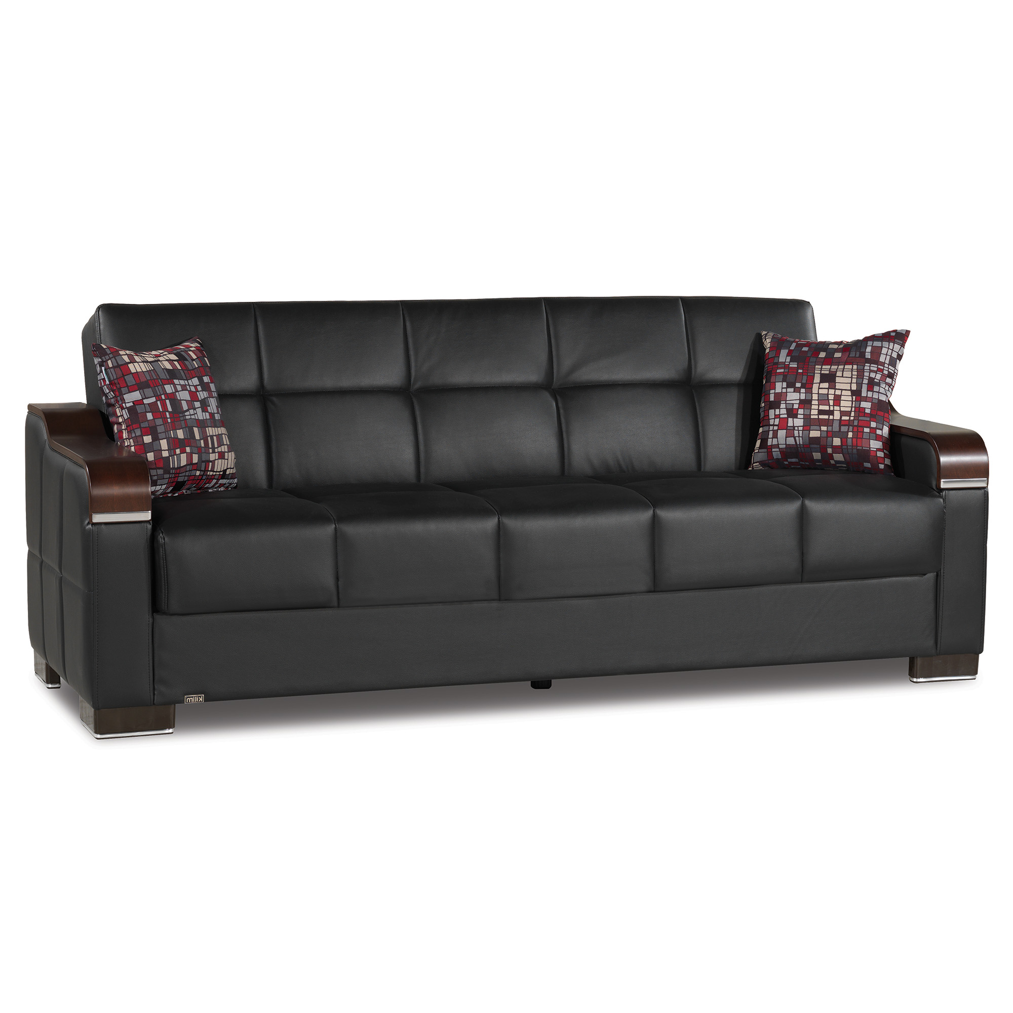 Latest Hartford Storage Sectional Futon Sofas With Regard To Uptown Leather Wooden Accent Arm Sleeper Sofa Bed With (View 2 of 25)