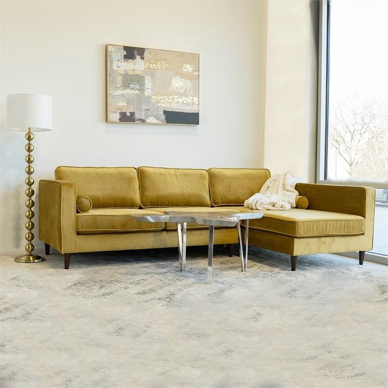 Latest Mid Century Modern Owen Gold Velvet Sectional Sofa Left Intended For Florence Mid Century Modern Velvet Left Sectional Sofas (View 25 of 25)