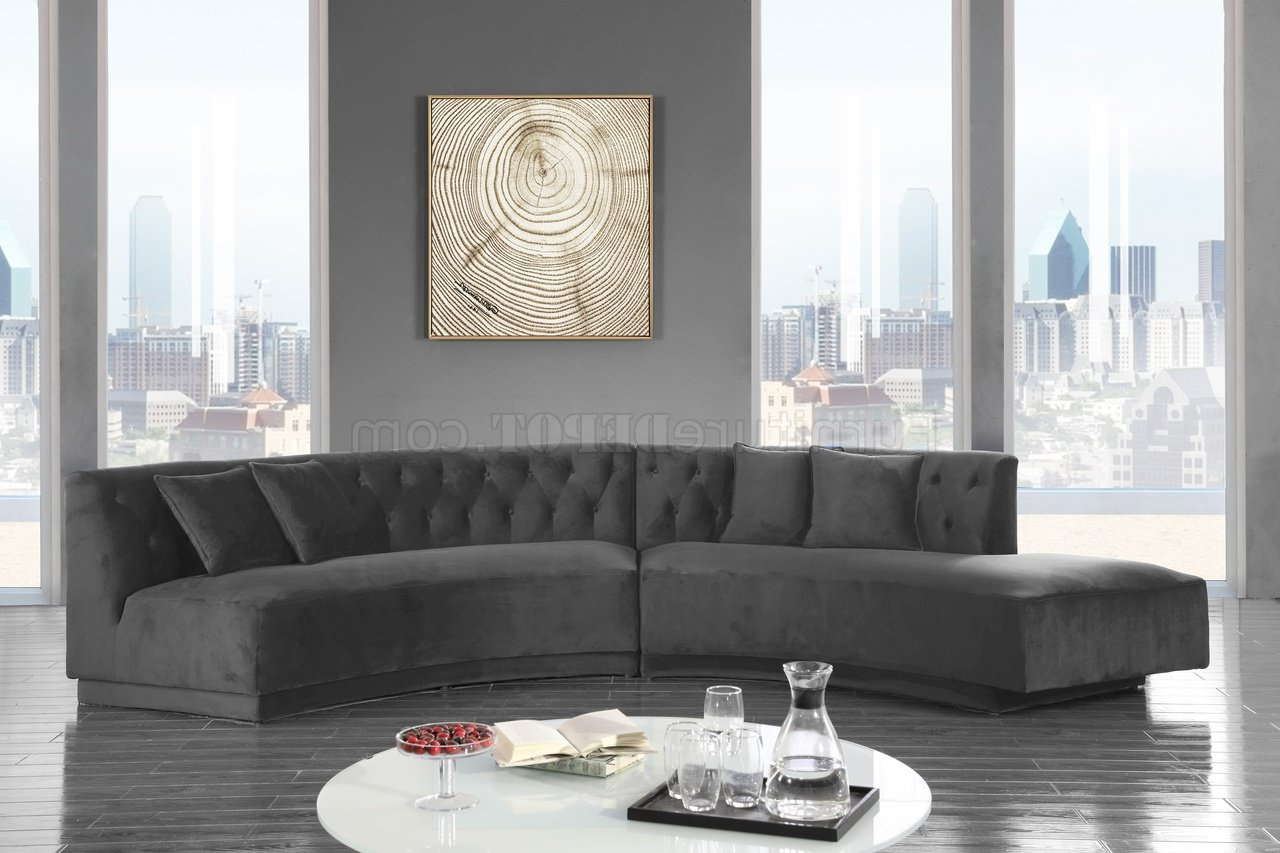 Latest Molnar Upholstered Sectional Sofas Blue/Gray With Regard To Kenzi Sectional Sofa 641 In Grey Velvet Fabricmeridian (View 6 of 25)