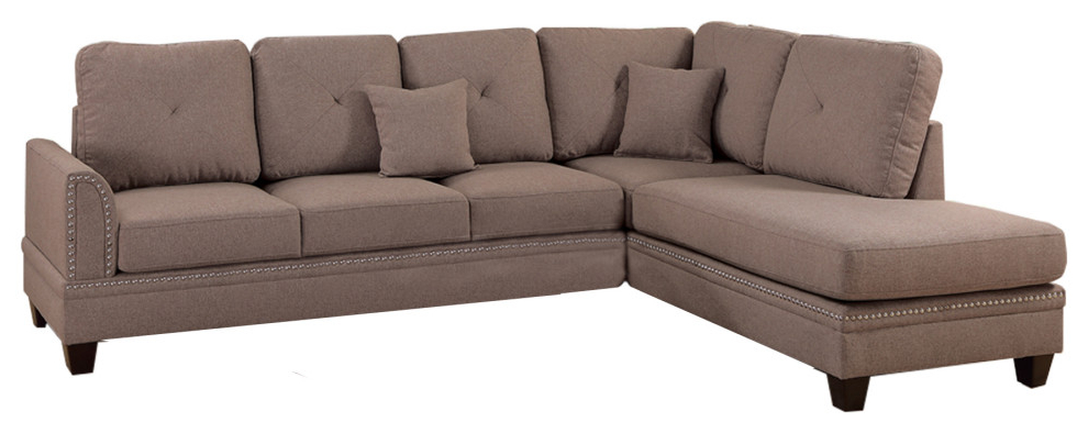 Latest Polyfiber 2 Piece Sectional Set With Nail Head Trims In Intended For 2Pc Polyfiber Sectional Sofas With Nailhead Trims Gray (View 1 of 25)