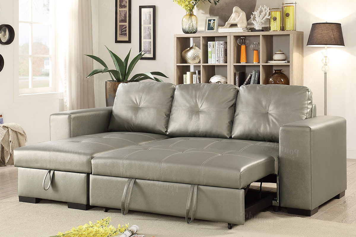 Latest Prato Storage Sectional Futon Sofas Within Silver Faux Leather Convertible Sectional Sofa Bed (View 13 of 25)