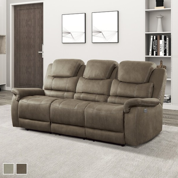 Latest Shop Rosnay Power Double Reclining Sofa With Drop Down Cup Within Titan Leather Power Reclining Sofas (View 14 of 15)