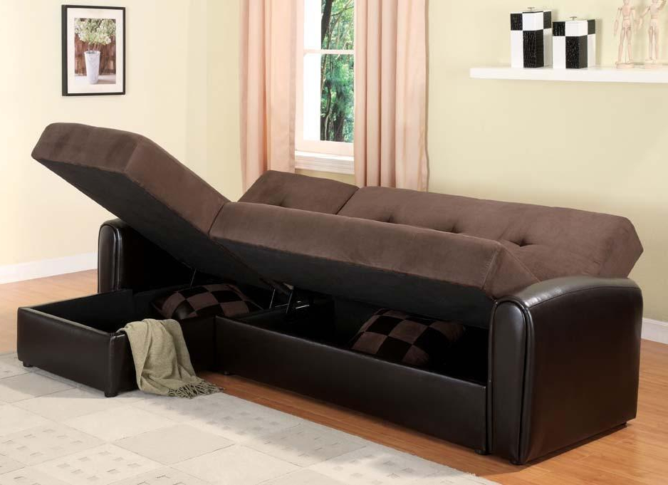 Latest Storage Sectional Sofa Sleeper Bed Pertaining To Celine Sectional Futon Sofas With Storage Reclining Couch (View 19 of 25)