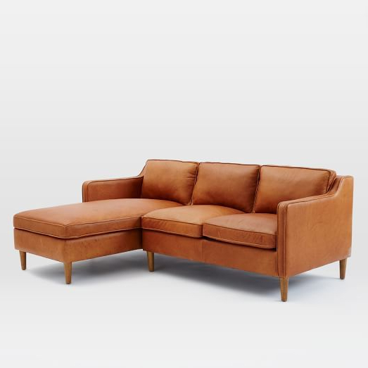 Leather Chaise Pertaining To 2Pc Burland Contemporary Chaise Sectional Sofas (View 7 of 25)